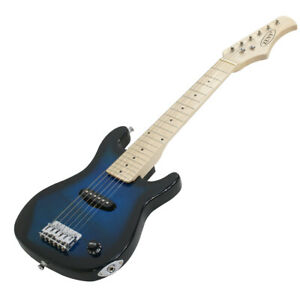 """30"""" Blue Electric Guitar With Amp Much More Guitar Combo Accessory & Bag Train"""