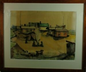 Hauser-034-Car-village-with-people-nowadays-034-Spring-Drawing-aquarelliert-1937