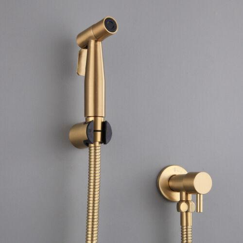 Brushed Gold Bidet Bathroom Hand Shower Bidet Toilet Sprayer Hygienic Bidet Set