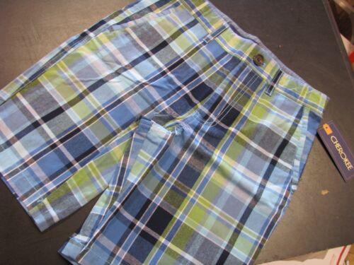 Cherokee Boys Blue and Green Plaid Shorts NWT Boys Size 12H 12 Husky