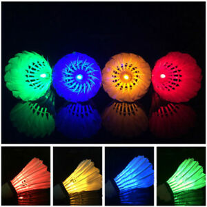 4PCS LED Shuttlecock Badminton Set Dark Night Glow Birdies Lighting