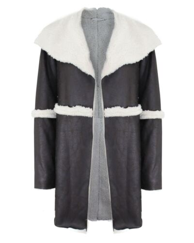 New Ladies Women Fur Lined Suede Patchwork Open Cardigan Warm Jacket Collar Coat