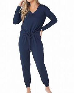 Anybody-Womens-Jumpsuit-Blue-Size-Medium-M-V-Neck-Drawstring-Cozy-Knit-53-385