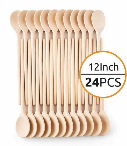 Woodware 12-Inch Wooden Kitchen Spoons Baking Mixing Serving Craft-Set of 24-Mr