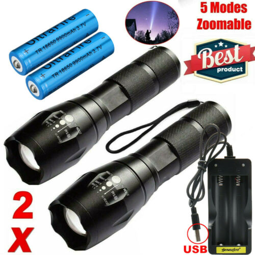 LED Torch Rechargeable Flashlight Police Tactical Zoom Camping Lamp 18650