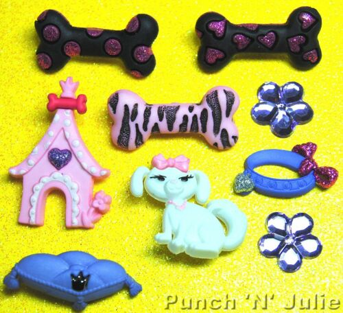 PAMPERED POOCH Dog Show Pup Puppy Bones Pet Animal Dress It Up Craft Buttons