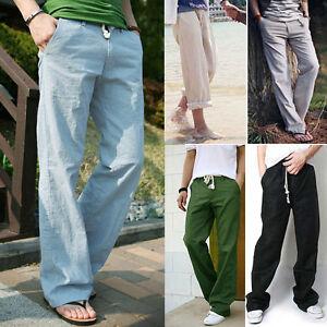NEUF-pantalon-en-lin-hommes-ete-chino-textile-jeans-de-jogging-28-34