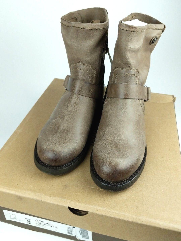 OluKai Nahuku Short Clay Full Grain Mid-calf Moto Biker Boots, Women's US 8