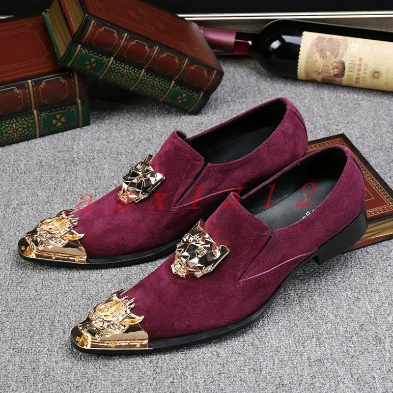 Scarpe casual da uomo  Fashion uomos Pointy Metal Toe Slip On Party Clubwear Wedding Casual British Shoe