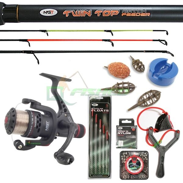 FEEDER QUIVER FLOAT ROD REEL WITH FEEDER FISHING SET FLOATS HOOKS SHOT 3PC 12FT