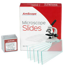 AmScope 72 Pre-cleaned Blank Microscope Slides and 100 22x22mm Square Cover Glass