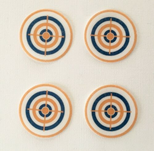12 PRE CUT NERF TARGET EDIBLE RICE WAFER PAPER CARD PARTY CUPCAKE TOPPERS