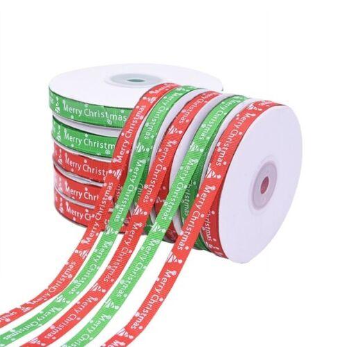 25 yardas Feliz Feliz Navidad Ribbons Copos De Nieve Cinta Envoltura de regalo de 22 metros