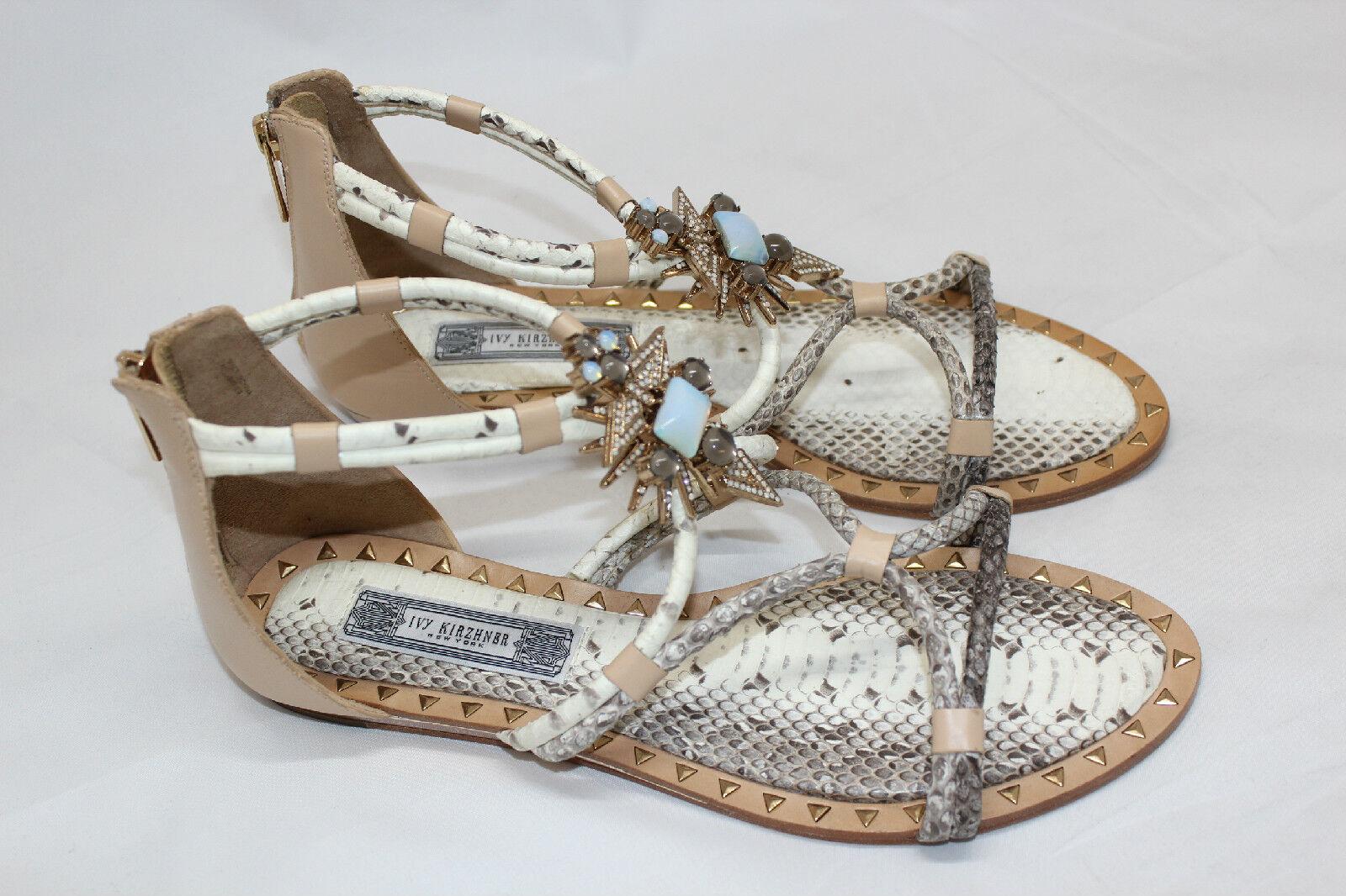 Ivy  Kirzhner Basil Snakeskin Sandals Gladiator Strap Cabochon Crystals 10M (N5)  centro commerciale online integrato professionale