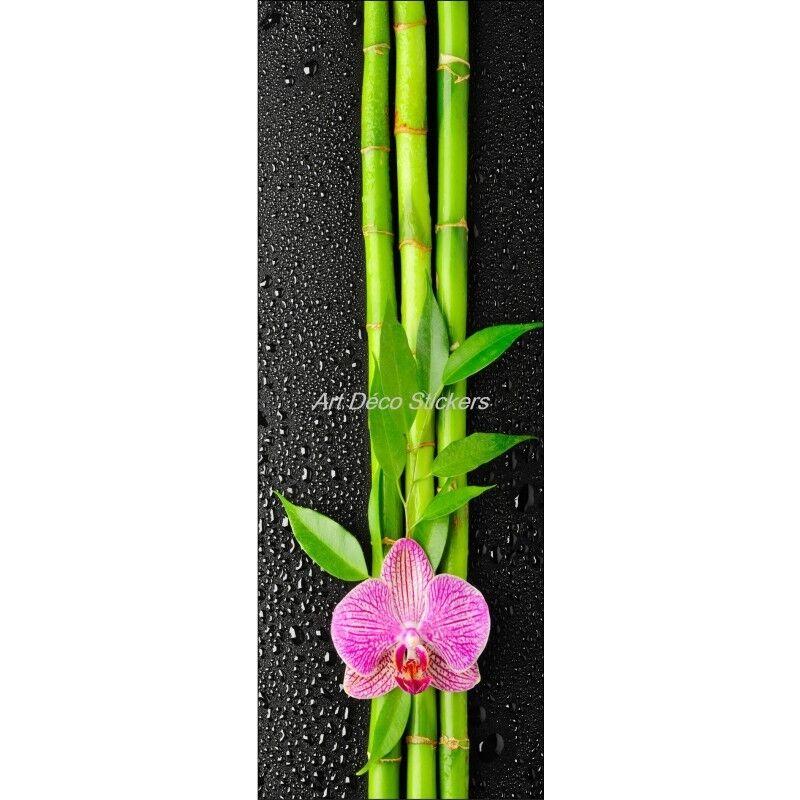 Cartel Póster de Puerta Trampantojo Flor Bambúes 529 Arte Decoración Pegatinas