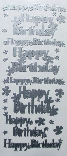 Happy Birthday Mixed Sizes PEEL OFF STICKERS Flowers Cardmaking
