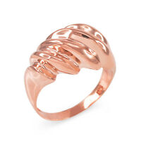 Fine 14k Rose Gold Elegant Domed Ribbed Ring (25.8 Mm In Height)