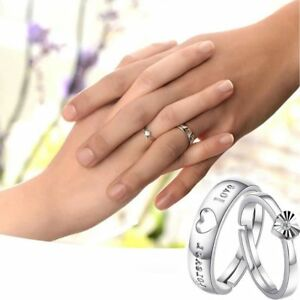 Romantic-Wedding-Jewelry-Couple-Rings-Silver-Plated-Adjustable-Forever-Love