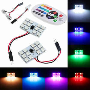 2X-T10-5050-12-SMD-RGB-LED-Car-Roof-Dome-Reading-Light-Lamp-Bulb-Remote-ControlR