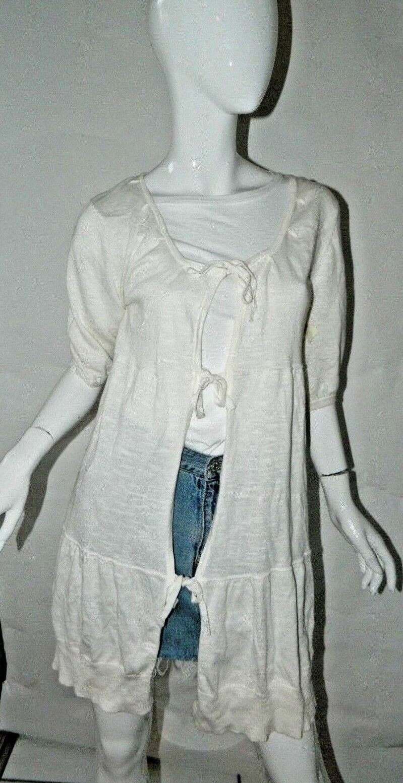HAIKU  Sweater Cardigan Cream Ivory Long Cardigan with Ties  Sz S