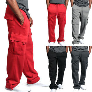 Men-039-s-Jogger-Heavy-Weight-Work-Cargo-Pocket-Sweat-Pants-Casual-Loose-Trousers