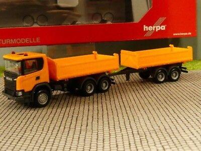 Herpa 309738 Scania CG 17 6x6 Tandem-Baukipper-Hängerzug kommunalorange