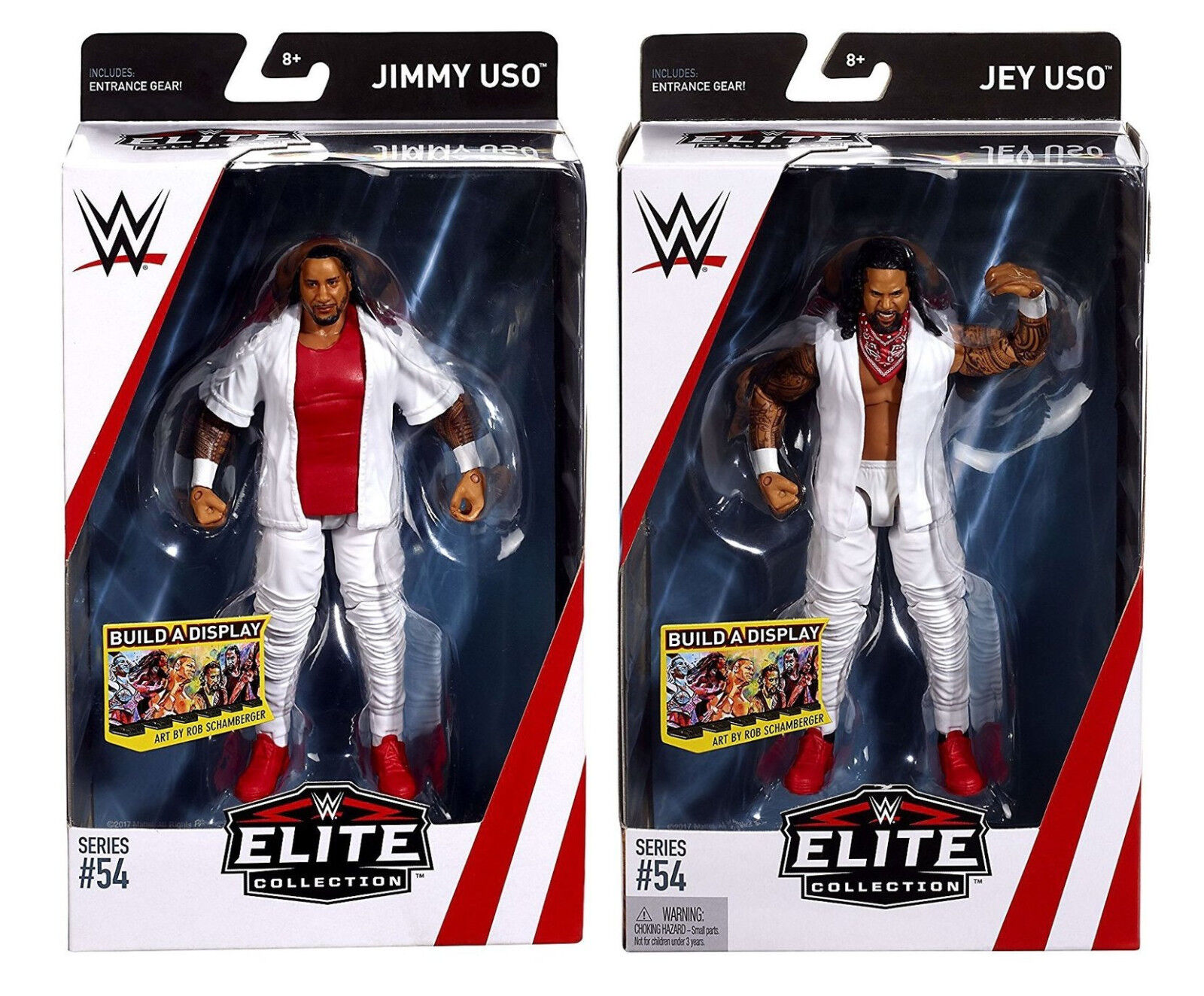 WWE JIMMY USO AND JEY USO ELITE WRESTLING FIGURES 54 FATU TWINS RAKISHI SAMOAN