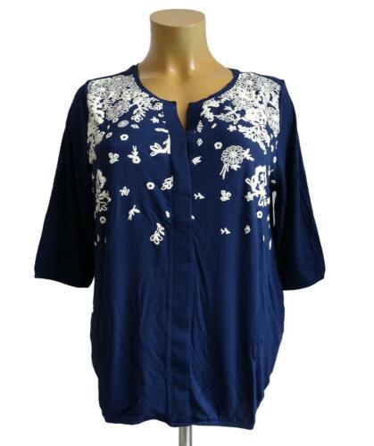 NEU Übergröße Damen Stretch Shirt in d.blau mit floraler 3D Druck Gr.48//50,56//58