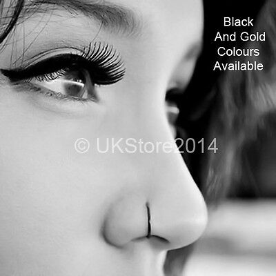Thin Small 0 6mm X 8mm Black Gold Nose Hoop Ring Stud 316l