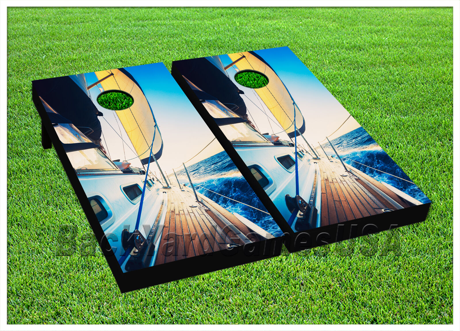 Ship Boat Ocean Sea Lake CORNHOLE BEANBAG TOSS GAME w  Bags Game Boards Set 791  shop makes buying and selling