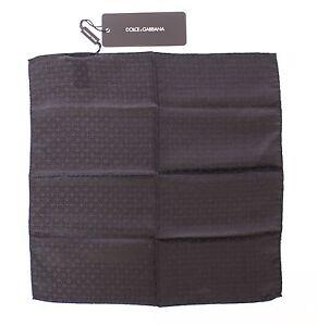 NEW-DOLCE-amp-GABBANA-Handkerchief-Black-Silk-Pochette-Square-Pocket-30cm-x-30cm