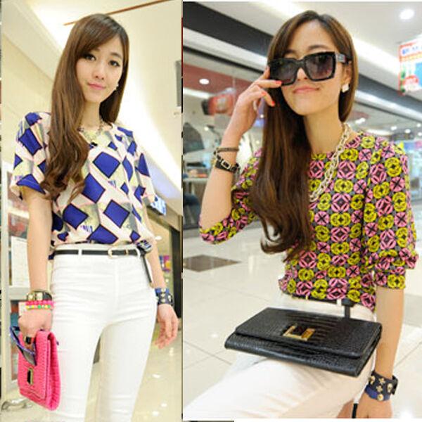 Retro Womens Geometric Floral Print Chiffon Tops T-Shirt Short Sleeve Blouse New