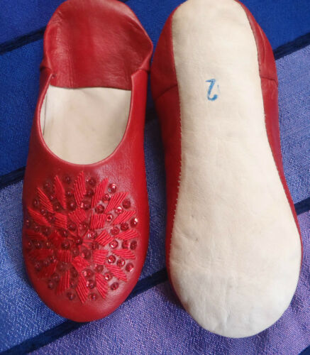 RED LEATHER SEQUINED SLIPPERS MOROCCAN 8//42*