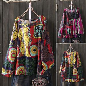 ZANZEA-Femme-T-shirt-imprime-Belle-100-coton-Manche-Longue-Ample-Haut-Tops-Plus
