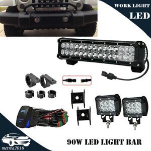 Details About 15 Inch Led Light Bar 2x 4 Cube Fog Light Bumper Grill Front Bracket Mount Kit