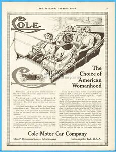 1912 Cole Motor Car Co Indianapolis IN Four Women One Lucky Man Womanhood Ad