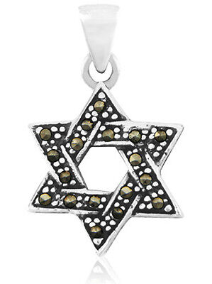Sterling Silver Antiqued Marcasite Star of David Pendant