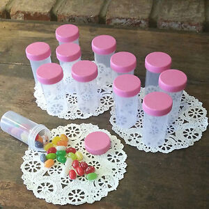 20-Plastic-Pill-Bottles-Party-Candy-JARS-PINK-LIDS-RX-Container-3814-DecoJars-US