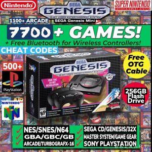 NIB-SEGA-GENESIS-MINI-WITH-7500-GAMES-CHEATS-AND-2-FREE-BLUETOOTH-ADAPTERS