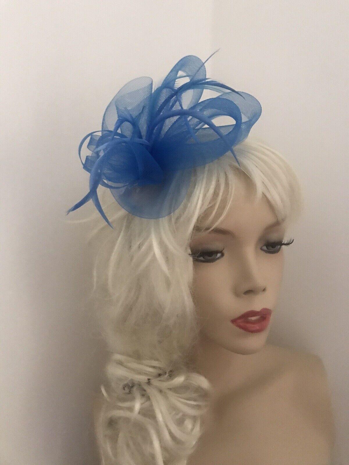 New Blue Feather Crin Fascinator Hat Races Wedding Ascot Hair clip Slide UK