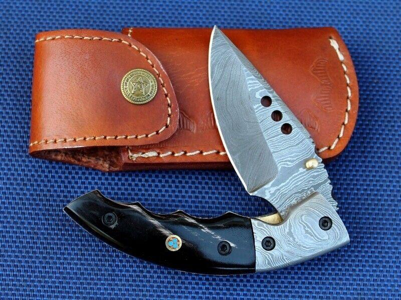COLTELLI damasco Coltellino handmade 256 strati bufali CORNO ab-207