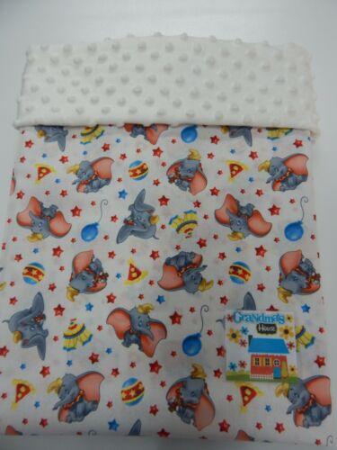 Baby Blanket Dumbo Balloon White Cot Pram Crib 90cm x77cm Minkee Dot Back