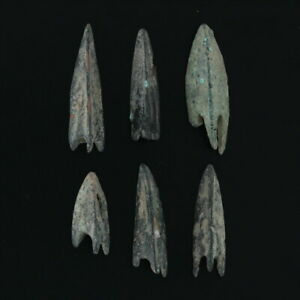 Lot-of-6-Ancient-Arrowheads-Antique-Weaponry-Triblade-Trilobate-Patinaed