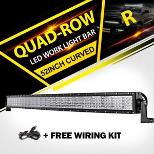 Quad Row 52 Quot Inch 3600w Curved Led Light Bar Offroad Fit