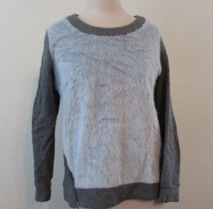 WAVERLY GREY womens Sm faux fur front asymmetrical zip sweatshirt sweater