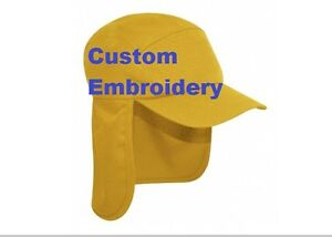 f0e982818855f Image is loading CUSTOM-Personalised-Text-Embroidery-Yellow-Legionnaire-Hat- Cap-