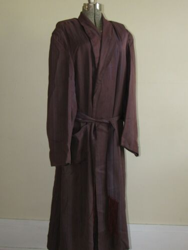 Vtg 40s 50s Rayon Pinstripe Robe W/ Belt Bathrobe