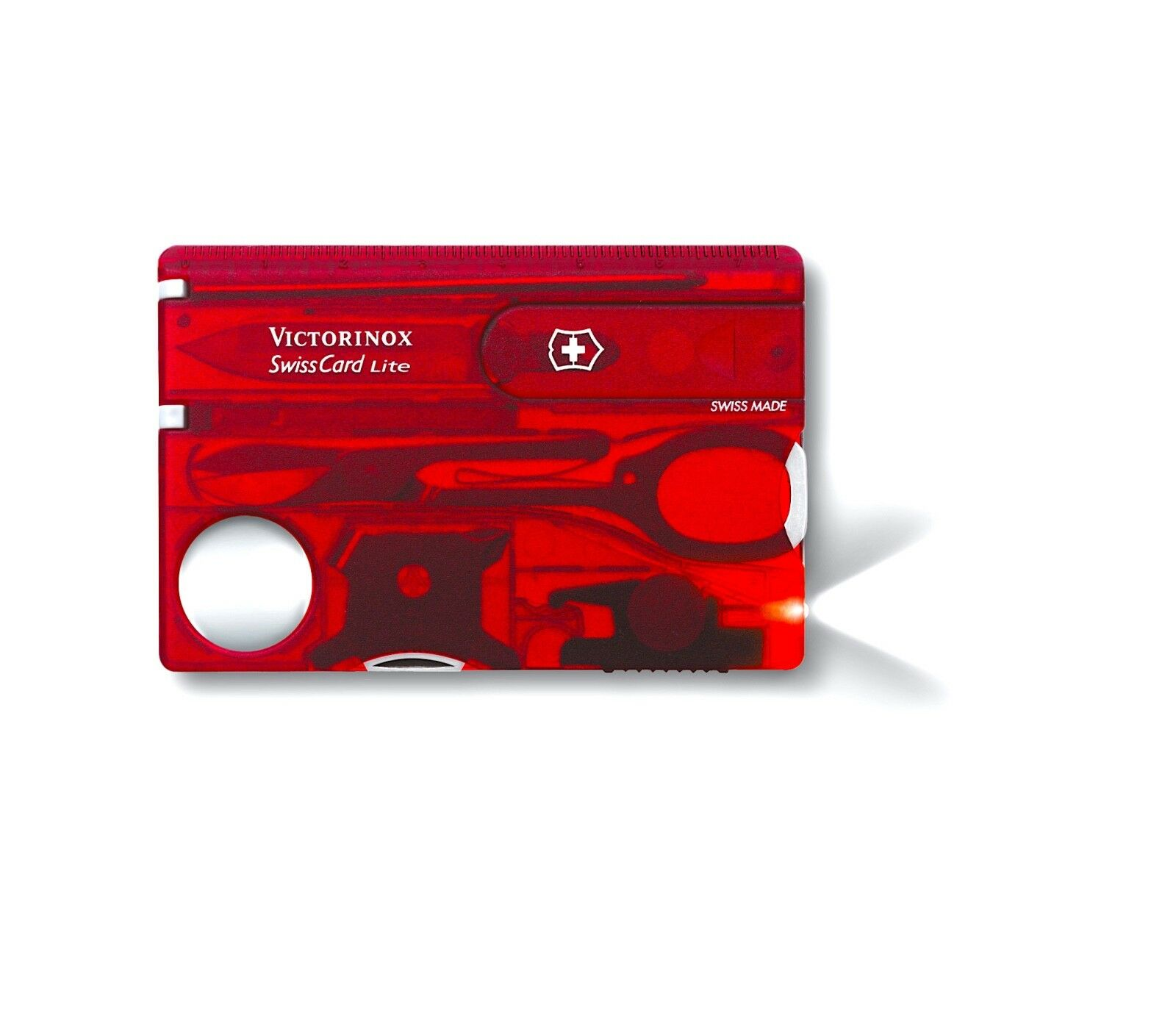 VICTORINOX SwissCard Lite   RUBY    White LED Light - Made in SWITZERLAND  cheap and top quality