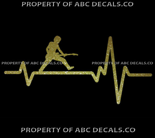 VRS Heart Beat Line MUSIC GUITAR MAN Rocking out Electric Jump CAR METAL DECAL