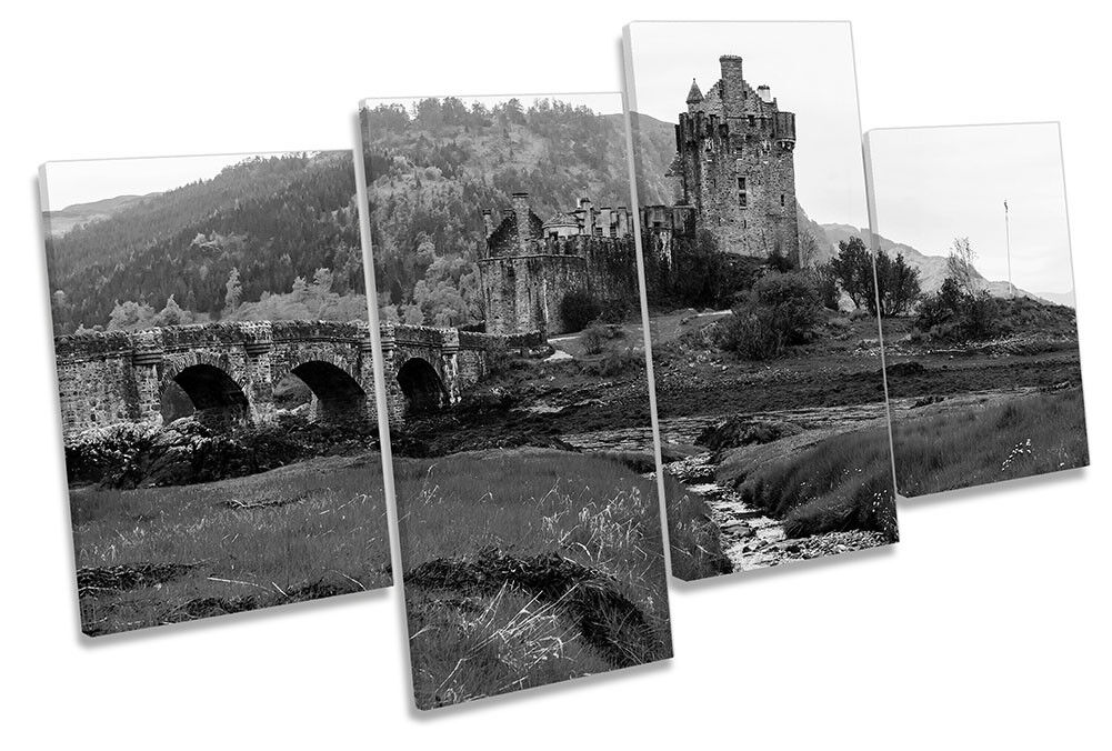 Eilean Donan Castle B&W Picture MULTI CANVAS WALL ART Print